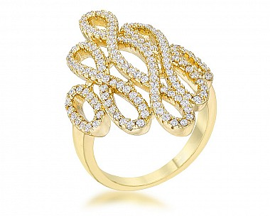 Peyton Gold Tone Filigree Pave Statement Ring