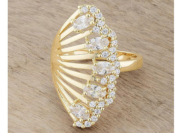 Serenity Gold Tone CZ Vintage Inspired Cocktail Ring