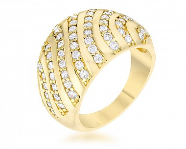 Stella Gold Tone CZ Dome Ring