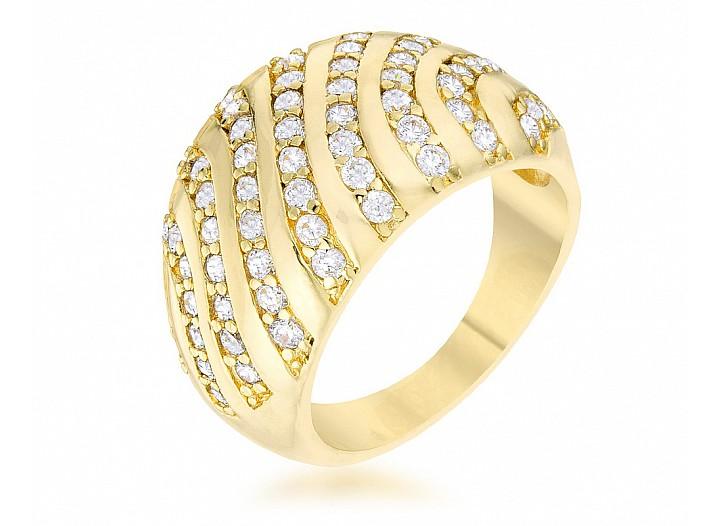 Stella Gold Tone CZ Dome Ring