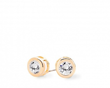 Augustina Gold Tone Classic Bezel Stud Earrings