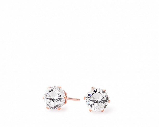 Emily Rose Gold Tone Timeless CZ Stud Earrings