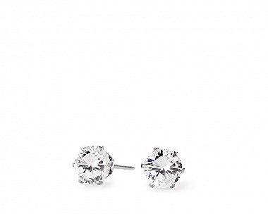 Mia Silvertone Timeless CZ Stud Earrings
