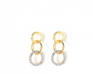 Olivia Gold Tone CZ Link Drop Earrings