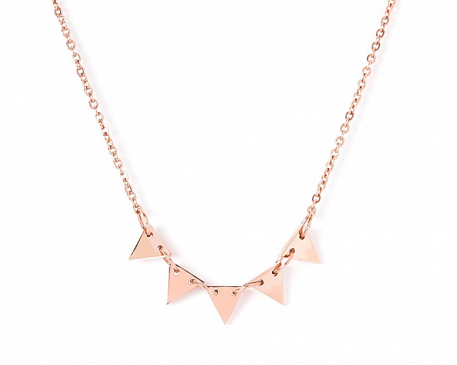 Natalie Rose Gold Tone Delicate Triangle Necklace