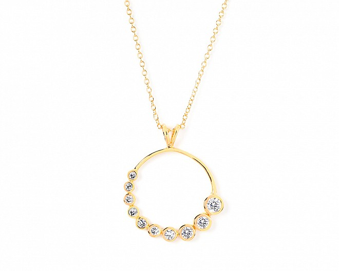 Sarah Gold Tone Graduated CZ Circle Necklace