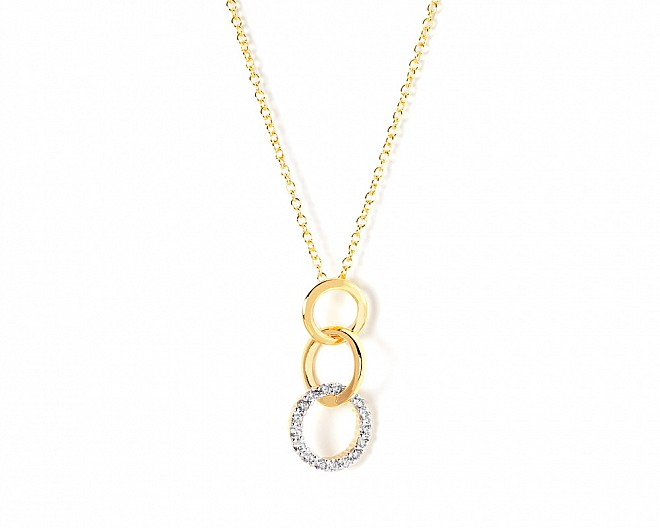 Anna Gold Tone CZ Link Drop Necklace