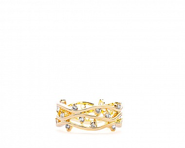 Laura Gold Tone CZ Branch Ring