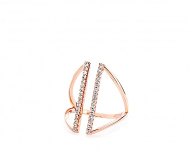Mia Rose Gold Tone Delicate Pave Ring