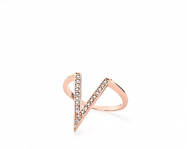 Maya Rose Gold Tone Delicate Pave V Ring