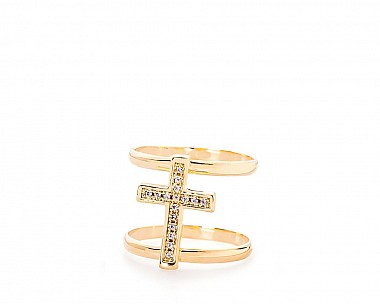 Adriana Gold Tone Delicate Pave Cross Ring