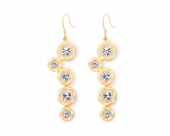 Logan Matte Gold CZ Drop Earrings