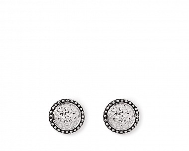 Lynna Silvertone Hammered Stud Earrings