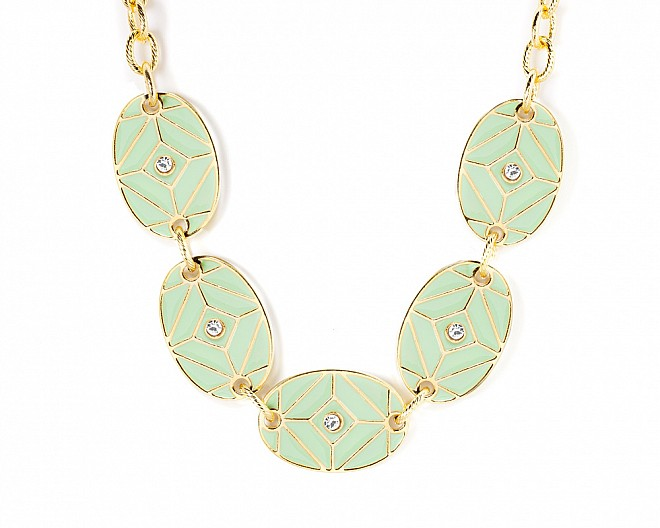 Aria Mint Enamel Gold Tone Statement Necklace