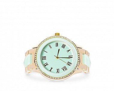 Alyssa Gold And Mint Crystal Metal Watch