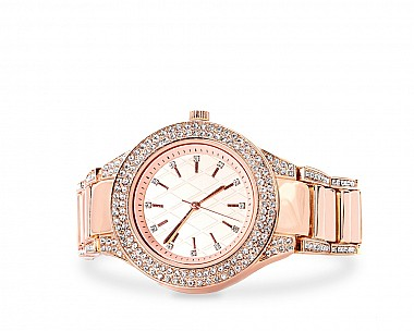 Ellie Rose Gold Tone Stone Encrusted Watch