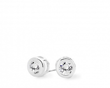 Augustina Silvertone Classic Bezel Stud Earrings
