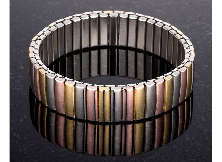 Estella Tri-Tone Stainless Steel Stretch Bracelet