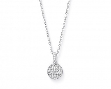 Halley Pave Silver Tone Disc Pendant