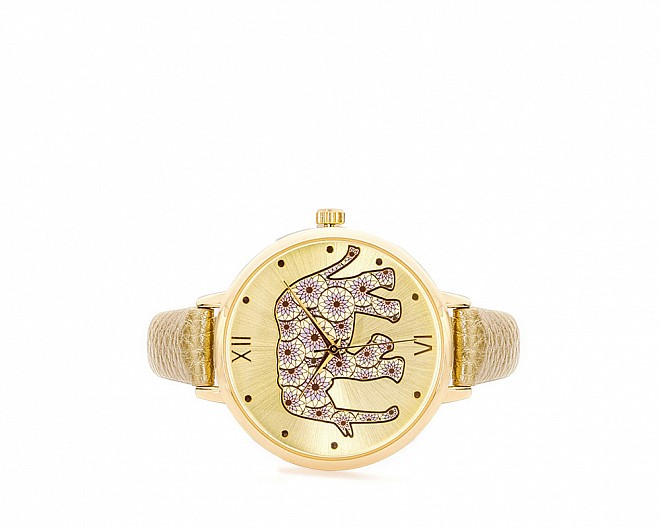 Alexis Gold Elephant-Inspired Leather Watch