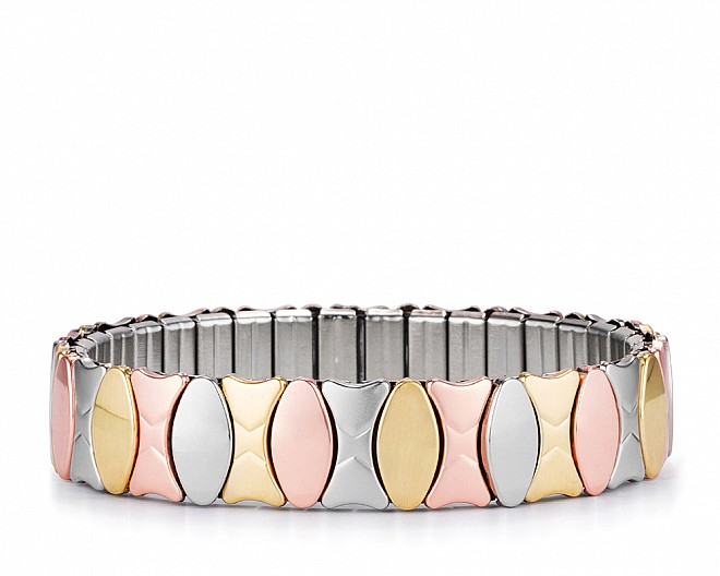 Lucia Tri-Tone Alternating Ovals Stainless Steel Stretch Bracelet