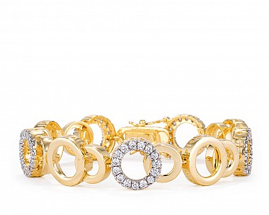 Rebecca Two-Tone Sparkling Circles Tennis Bracelet