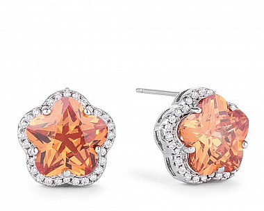 Amber Floral Cut Champagne CZ Earrings