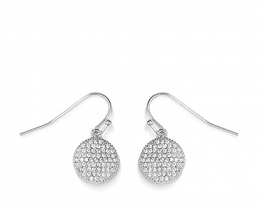 Halley Pave Silver Tone Disc Mini Drop Earrings