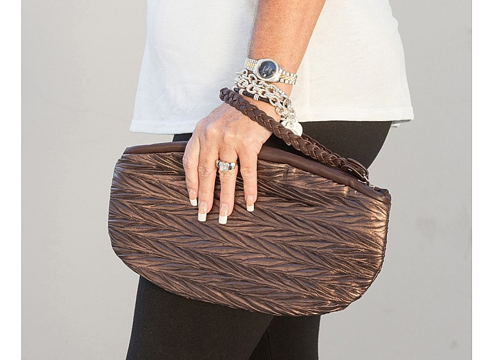 Helen Bronze Leather Clutch