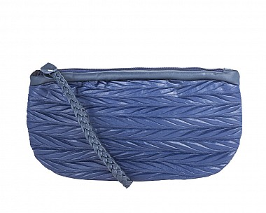 Helen Midnight Blue Leather Clutch