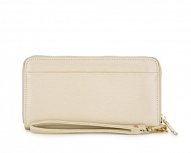 Lori Beige Faux Textured Leather Clutch
