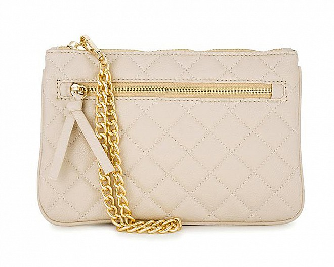 Susie Beige Leather Clutch