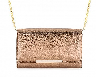 Sandy Bronze Metallic Pebbled Faux Leather Clutch
