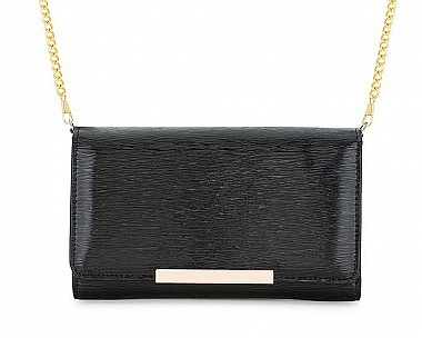 Sandy Black Metallic Pebbled Faux Leather Clutch
