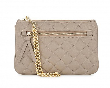 Susie Taupe Leather Clutch