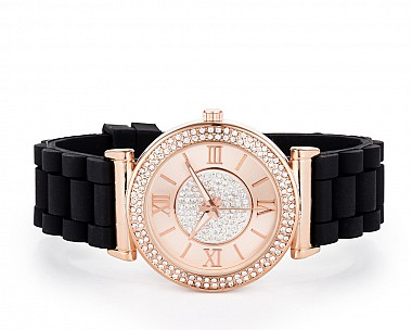 Bella Rose Gold Rubber Strap Watch