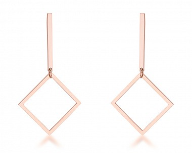 Trendy Rose Gold Plated Stainless Steel Geometric Drop Earrings