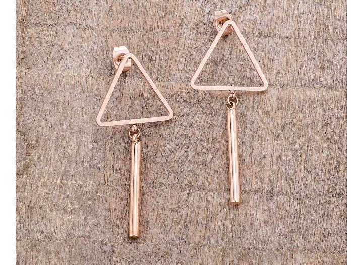Trendy Rose Gold Plated Stainless Steel Triangle Bar Drop Earrings