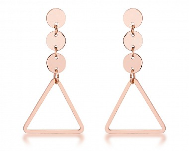 Trendy Rose Gold Plated Stainless Steel Triangle Drop Earrings