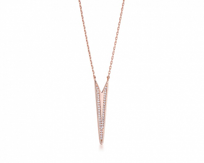 Rose Gold Plated Elongated Arrow CZ Necklace