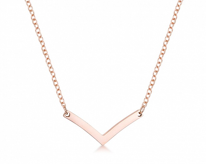 Rose Gold Plated Stainless Steel Chevron Necklace