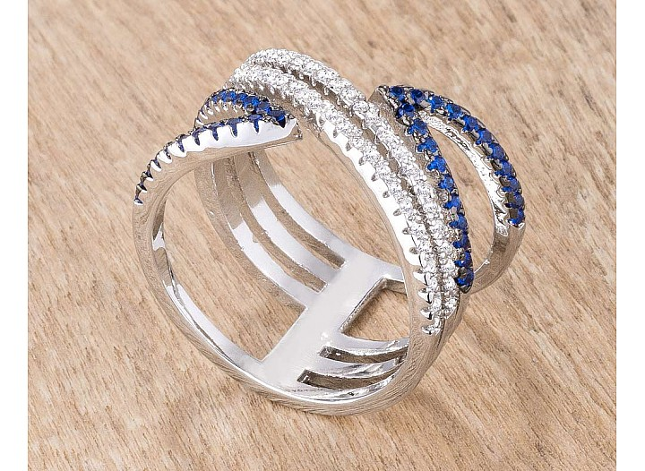 Contemporary Rhodium and Hematite Plated Blue and Clear CZ Micro Pave Crossover Ring