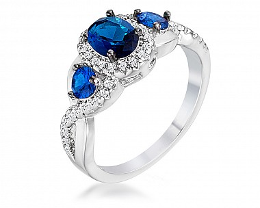 Sapphire Blue and Clear CZ Three Stone Twisted Shank Ring
