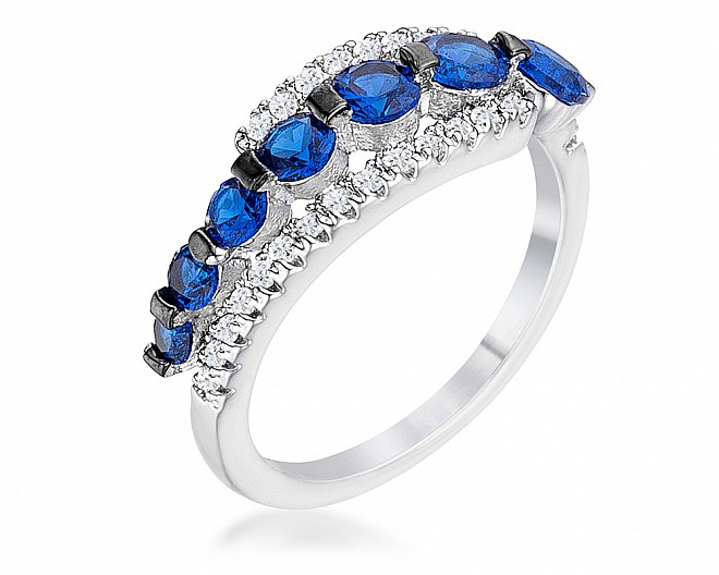 Sapphire Blue and White Graduated CZ Half Eternity Ring