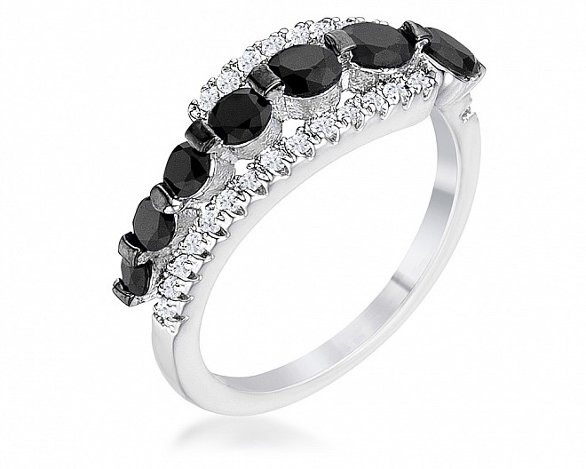 Black and White Graduated CZ Half Eternity Ring