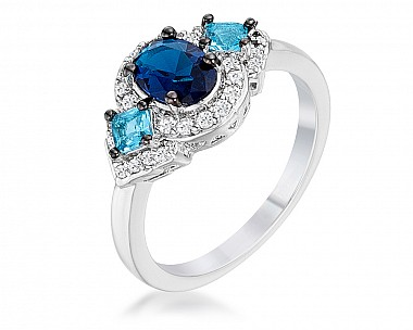 Shades of Blue and Clear CZ Three Stone Engagement Ring
