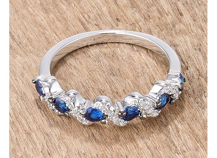 "Stackable ""S"" Shape Blue and Clear CZ Half Eternity Band"