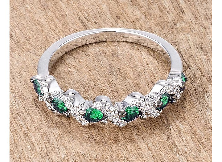 "Stackable ""S"" Shape Emerald Green and Clear CZ Half Eternity Band"