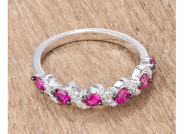 "Stackable ""S"" Shape Fuchsia and Clear CZ Half Eternity Band"