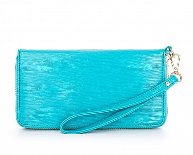Lori Teal Faux Textured Patent Leather Clutch